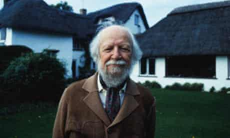 Author William Golding in front of his home, 1983