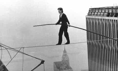 Philippe Petit walks between the World Trade Centre Twin Towers, 7 August 1974.