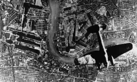 a German Heinkels 111 bomber over the Thames