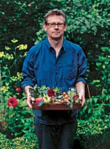 Nigel Slater with home-grown produce