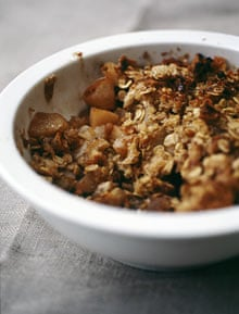 Pear, walnut and maple syrup betty
