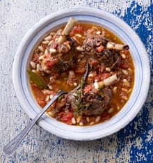 Lamb, braised shanks with garlic, rosemary and cannellini beans