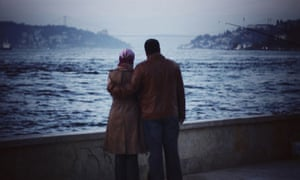 Lovers looking out to the Bosphorus, Istanbul,