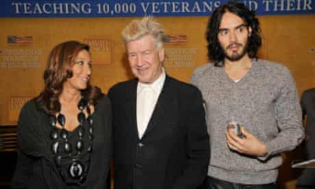 David Lynch with Donna Karan and Russell Brand at the launch of Operation Warrior Wellness