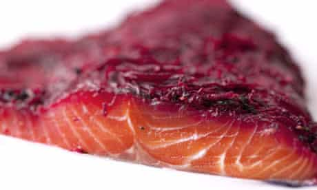 Nigel Slater's salmon marinated with beetroot recipe