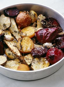 Roasted roots with horseradish