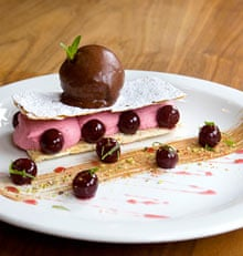 raspberry mousse with griottine cherries