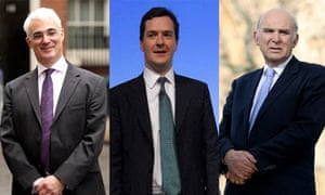 Alistair Darling, George Osborne and Vince Cable composite