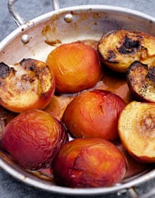 Baked peaches with maple syrup and vanilla. Photograph: Jonathan ...