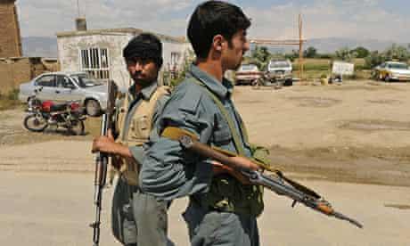 Afghan policemen near bagram base
