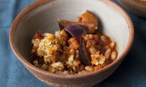 Nigel Slater's beans with aubergine and parmesan crust