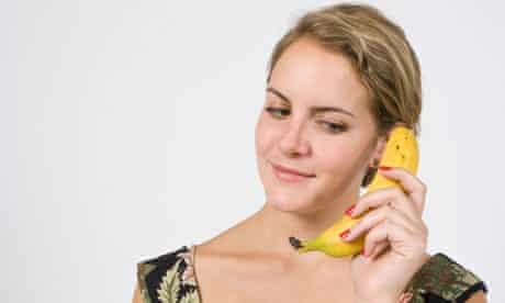 Woman on banana phone