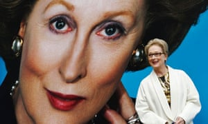 "Meryl Streep with poster for ""The Iron Lady"""