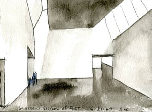 The Glasgow School of Art:  Steve Holl watercolour, early thoughts for studio space.