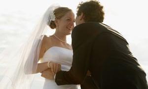 Newlyweds, laughing