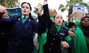 Libyan policewomen loyal to Gaddafi protest in Tripoli