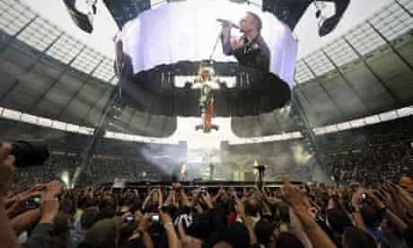Bono, singer of the Irish band U2, perfo