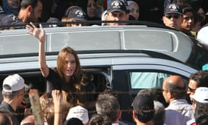 Angelina Jolie at a Syrian refugee camp