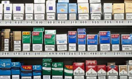 Cigarettes on display at tobacconists