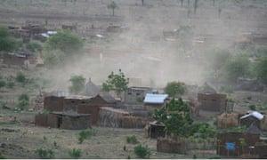 A bombed Nuba village.
