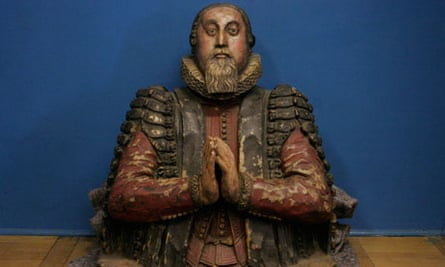 The medieval statue looted from St Olave's church.