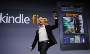 Amazon CEO Jeff Bezos with new Kindle Fire tablet