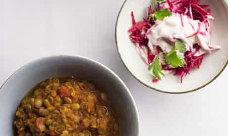 nigel slater lentil curry beetroot raita