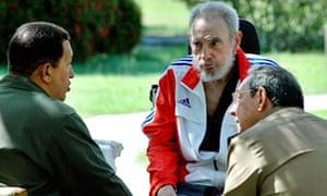 Former Cuban president Fidel Castro and Venezuelan leader Hugo Chávez