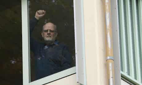 Sture Bergwall aka Thomas Quick looks out from hospital