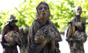 The Irish famine memorial on the north quay in Dublin