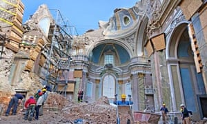 A church destroyed in the earthquake that devastated L'Aquila
