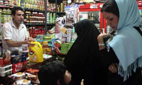 Iranian women shops at a grocery store