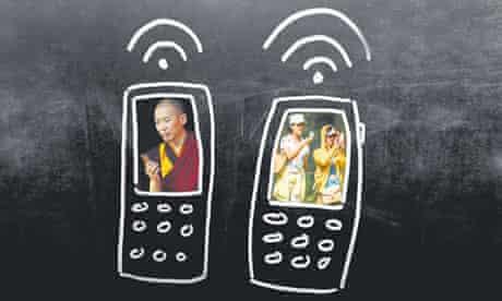 mobile phones drawn on a blackboard