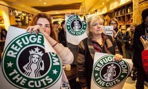 UK Uncut protesters in Starbucks