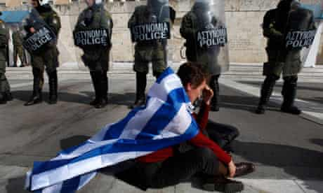 A protester in Athens.