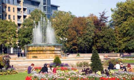 Queen's gardens flowers and fountain, Hull, Yorkshire, England