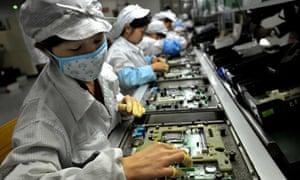 Foxconn factory workers in Shenzhen