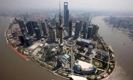An aerial view of the centre of Shanghai