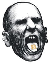 Angry head with stamp on tongue