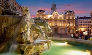 France: fountain and town hall Lyon