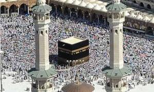 Muslim pilgrims walk around the in Mecca