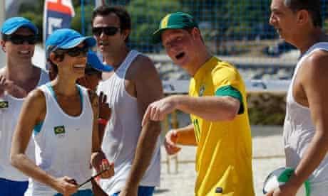 Prince Harry plays beach volleyball in Rio De Janeiro.
