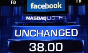 Facebook price on Nasdaq baord