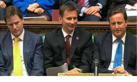 Jeremy Hunt  David Cameron  Nick Clegg