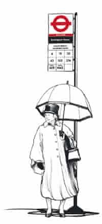 Queen with umbrella at a bus stop