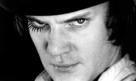 Malcolm McDowell as Alex in the Kubrick's 1971 film version of A Clockwork Orange.