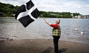 Loveday Jenkin waves the flag of St Piran
