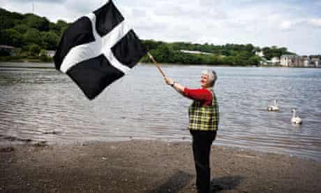 Loveday Jenkin waves the flag of St Piran