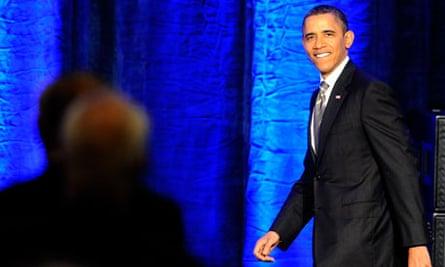 barack obama on stage