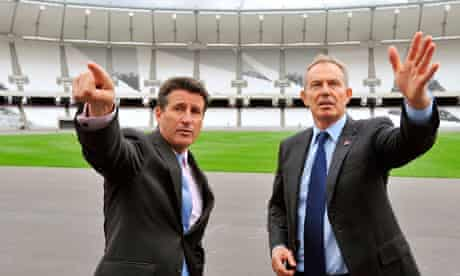 Tony Blair at the Olympic stadium